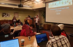 Tobler Society President Renee Wah and Vice President Jennifer Feng presenting at the Fall Mapathon